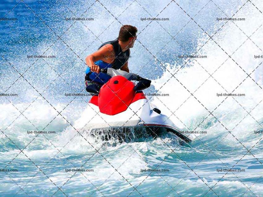 Jetski Jumps on The Wave