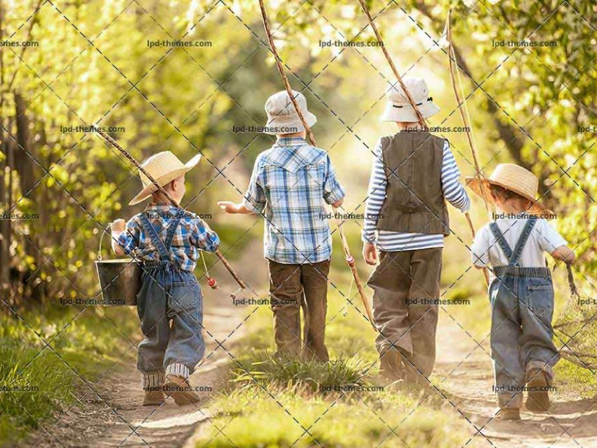 Four Boys With Fishing Rods