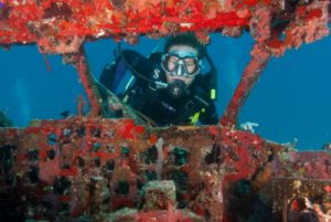 Airplane Wreck with Diver