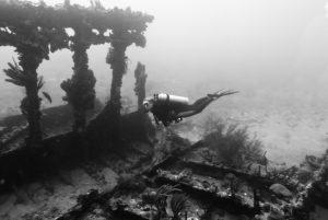 Diver on Rhone shipwreck